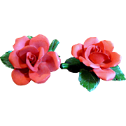 SALE Valentine Special! 2 Italian Porcelain Red Roses