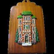 G. Clarke American Folk Art Ceramic on Wood Wall Plaque