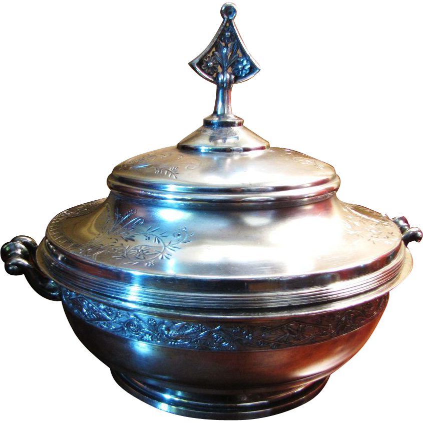 Very Large and Ornate Triple Plated Victorian 3 Piece Serving Tureen