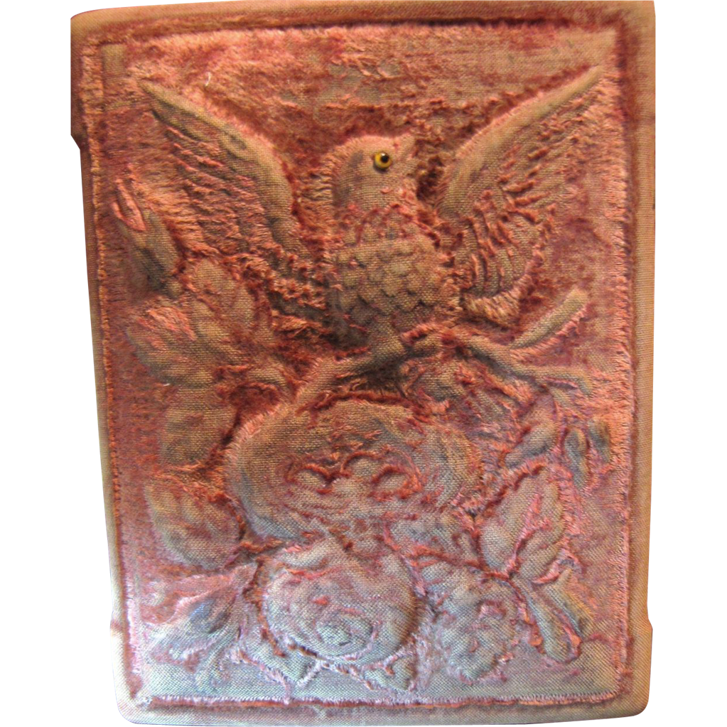 Fabulous 19th Century Velvet Candy Box,  Bird with Nest, Old Lace Interior SALE