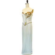 Bob Mackie White Beaded Evening Gown