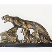 Original French Art Deco  Lioness and Cubs sculpture signed by Melani