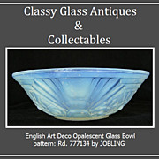 1930s English Art Deco Opalescent Glass Bowl by Jobling.