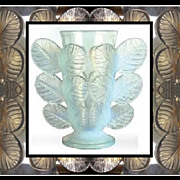 SOLD Exceptionally Desirable 1930s French Art Deco Opalescent Glass Vase Feuilles pattern by P