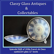"SOLD A PAIR!  Of Art Deco 12"" Opalescent Glass Bowls by Choisy-le-Roi, Paris, France. c1930s"