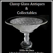 REDUCED 1930s Art Deco Four Cherubs pattern 2 Part Center Piece Comport Display – MINT ...
