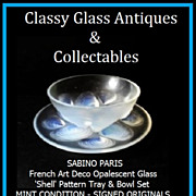 REDUCED Superb French Opalescent Glass 'Shell' Pattern Bowl & Tray Set by Sabino, Paris. c