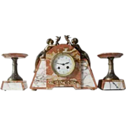 SOLD Magnificent 1930s French Art Deco Marble Clock & Garnitures by P. Sega, with Fully Workin