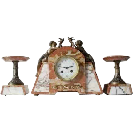 Magnificent 1930s French Art Deco Marble Clock & Garnitures by P. Sega, with Fully Working Striking & Chiming Movement.