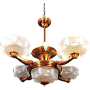 REDUCED Splendid Original French Art Deco Opalescent Glass Luster & Cascade 5 Light Pendan