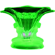SOLD LARGE Walther & Sohne 1930s German Art Deco Uranium Green Glass Vase two piece flower