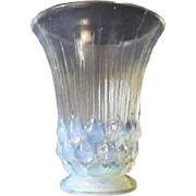 RARE - 1930s French Art Deco opalescent glass vase by Etaleune. Fully signed.