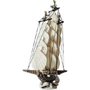 Superb & Unique vintage sea-shell Sailing Ship model circa 1950s – 1960s