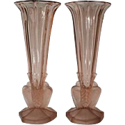 Scarce PAIR of 1930s Czechoslovakian Art Deco glass vases by Rosice. Mint Condition.