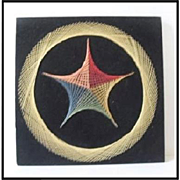 Large original 1970s French abstract string art of a stylized rosette
