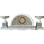 Splendid 1930s LARGE vintage French ceramic faience clock complete with cassoulets.