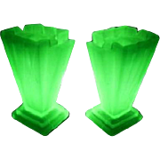 SALE PENDING A Very Rare & Desirable PAIR of LARGE 1930s English Art Deco uranium glass Granth