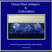 SALE PENDING A Charming English Art Deco 1930s  - 1940s Blue Glass Trinket  Vanity Set