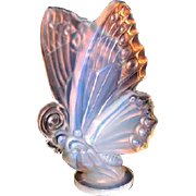 Large French opalescent glass butterfly figurine car hood mascot by Sabino Paris circa 1930s