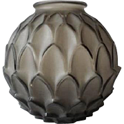 Rare artichoke pattern vase by Pierre d'Avsen, circa 1930s. Fully signed & pristine