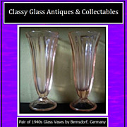 REDUCED Fab Pair of 1940's Art Deco Pink Glass Vases by Bernsdorf, Germany.