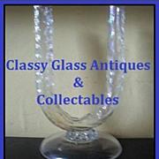 Pre -1920s Bohemian Free Blown Opal - Lustre Glass Vase