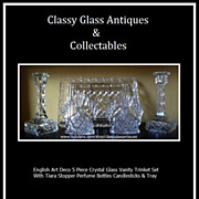 REDUCED A Beautiful Art Deco Glass 5 PieceTrinket Vanity Set Complete with Perfume Bottles.