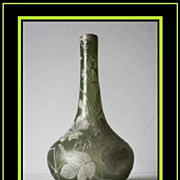 REDUCED Splendid Florentine Cameo Glass Vase c1880-c1900 Bohemia.