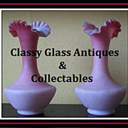 REDUCED Pair of English Victorian Satin Glass Wild Rose Vases. Circa 1880's by Thomas Webb