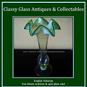 REDUCED English Victorian Uranium Opalescent & Green Glass Vase c1880 - c1910