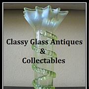 Thomas Webb, English Victorian Uranium Vaseline Glass Vase. MINT!