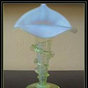 Antique English Victorian Opal Uranium Glass Jack In The Pulpit Vase