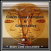 REDUCED Very Scarce 1930's Art Deco Amber Glass Two Piece Center Piece by Stolzle