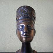 Original Vintage 1920's Egyptian Metal Bust of Nefertiti