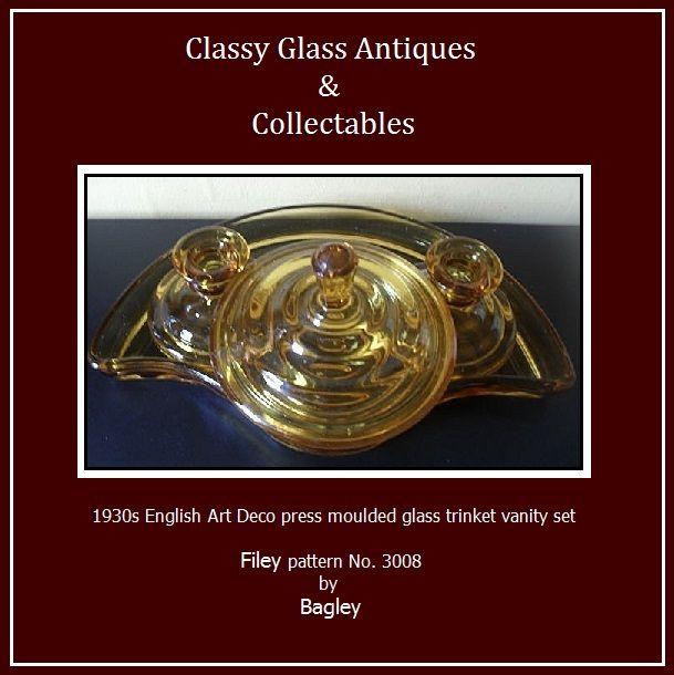 SCARCE 'Filey' Pattern Art Deco GlassTrinket Set by Bagley, England.