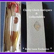 Exquisite Early 1900's German Hand Blown Glass Perfume Bottle. Boxed