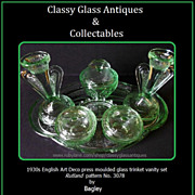 Bagley 1930's Art Deco Green Glass Trinket Set / Vanity Set. Rutland Pattern