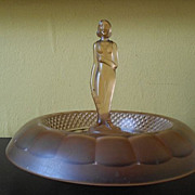 REDUCED Beautiful Satin Frosted Pink Glass Lady Center Piece by Sowerby, England. c1930's Art