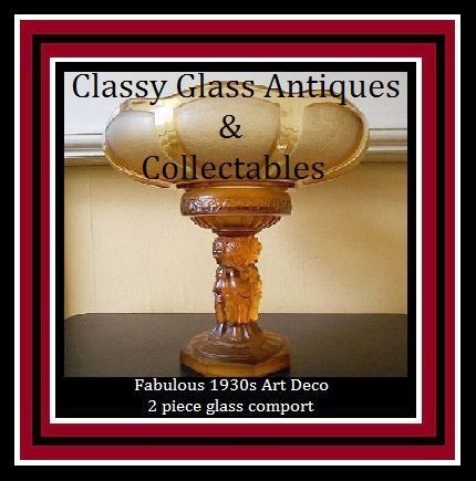 SALE PRICE! 1930s Art Deco Amber Glass LARGE Two Part Center Piece. Incredible.