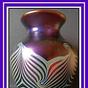 REDUCED Important Documented Iridescent Glass Feather-Combed Vase by Okra, England