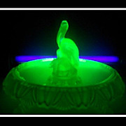 SALE PENDING Uranium Green Glass 1930s Art Deco Pelican Bird Center Piece Display by Walther,G
