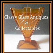 REDUCED Fabulous 1930s Continental European Art Deco Butterscotch Amber Glass 2 piece Flower V
