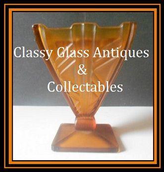Fabulous 1930s Continental European Art Deco Butterscotch Amber Glass 2 piece Flower Vase Set.