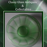 REDUCED English 1920s  Art Deco Green Satin Frosted Glass Bowl by George Davidson