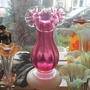 REDUCED Desirable English Stourbridge 9 inches Tall Free Blown Cranberry Glass Vase. Pre 1910.