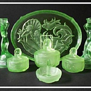 SOLD Phenomenal 1930s German Art Deco 7 piece Uranium Glass Vanity Set / Trinket Set by Walthe