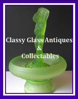 LARGE 15 inch tall  English Art Deco Uranium Green Glass 4 Part Center Piece by Jobling.