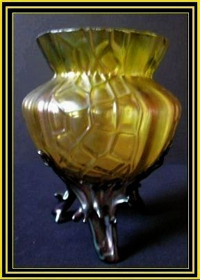 Austrian Art Nouveau Iridescent Glass Martelle Vase by  Loetz or Kralik