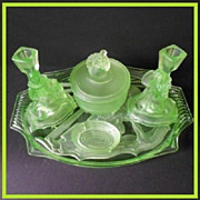 REDUCED Phenomenal German Art Deco Uranium Depression Glass Vanity Set / Trinket Set - By Walt