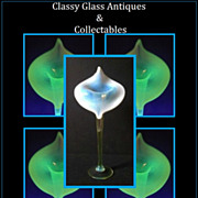 REDUCED Museum Quality Opalescent Uranium Glass Jack in The Pulpit Vase by Thomas Webb, Englan